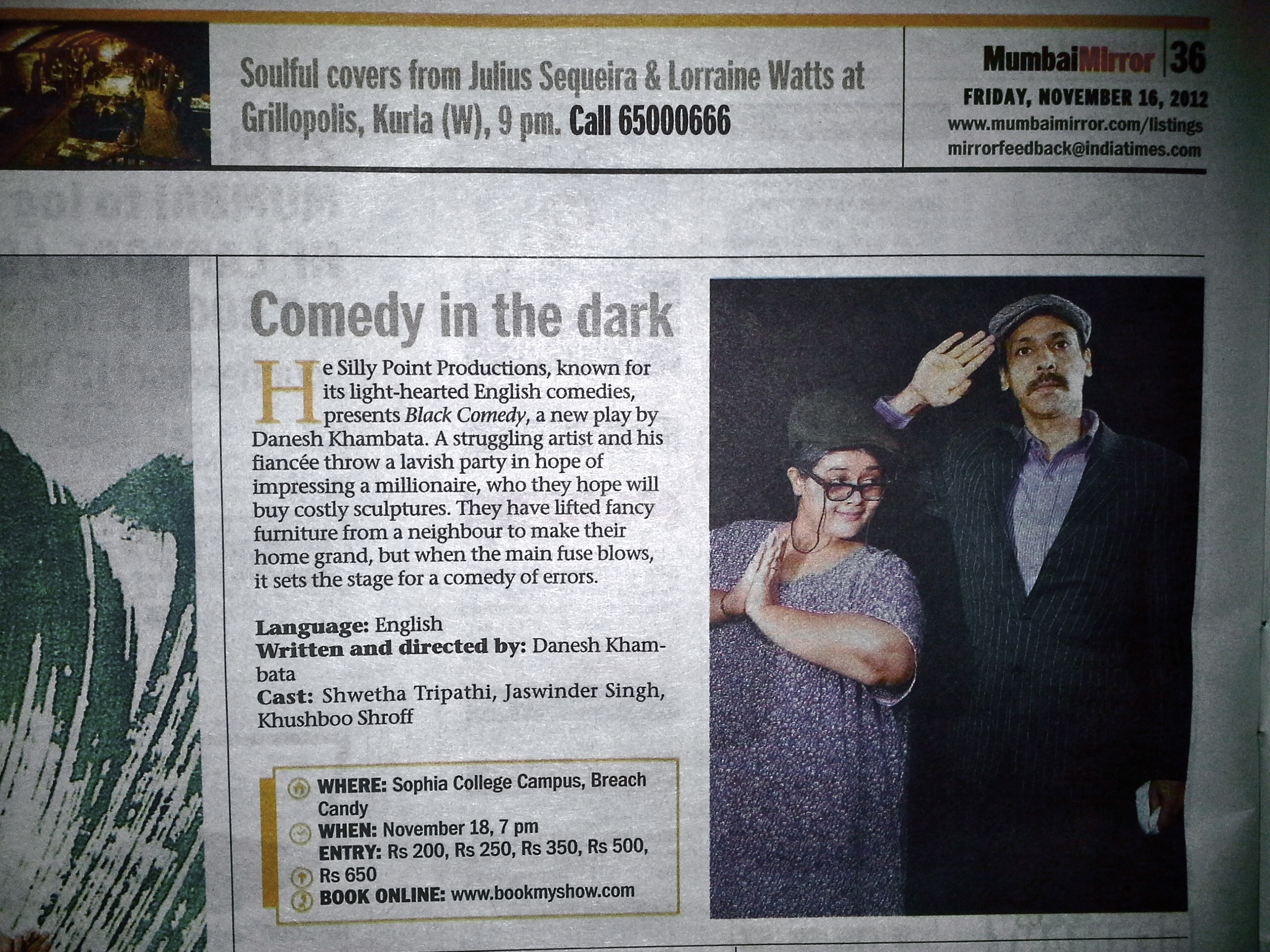 Black Comedy Mumbai Mirror